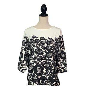 Isaac Mizrahi Live Black/White Floral Top Sz M